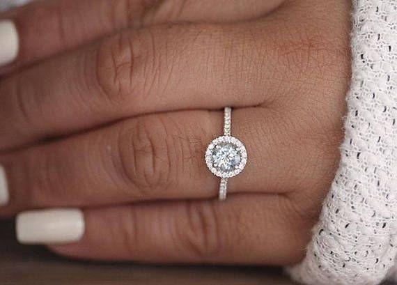 Round 6mm Natural Aquamarine Engagement Ring, 14k White Gold Aquamarine and Diamond Halo Ring, Bridal Ring, White Gold Wedding Ring, Promise