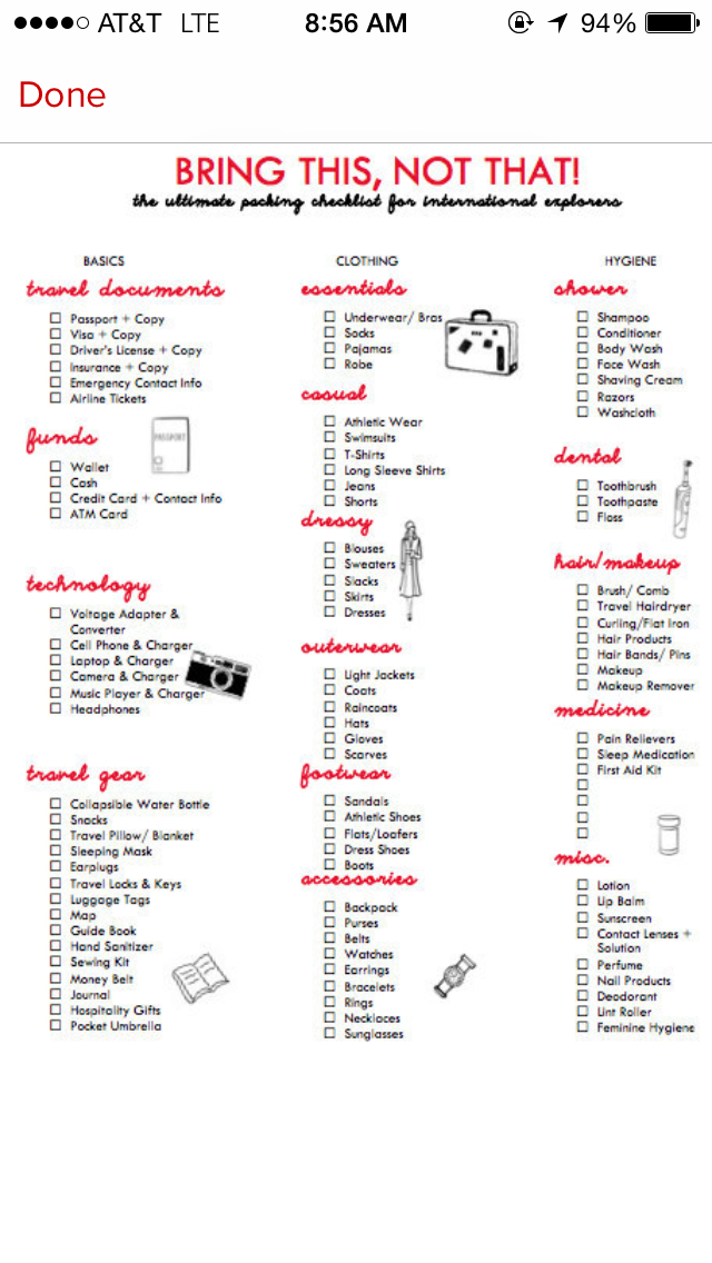 vacation checklist packing