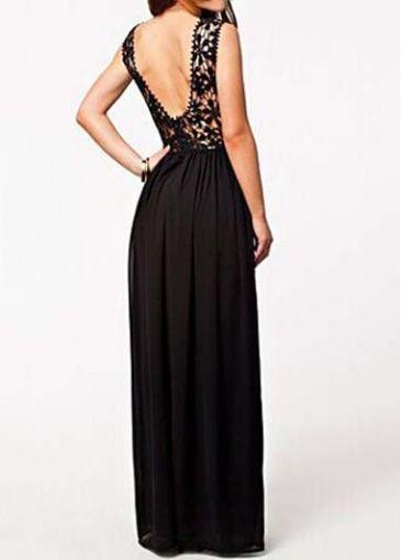 Elegant Solid Black Open Back Sleeveless Maxi Dress New Me
