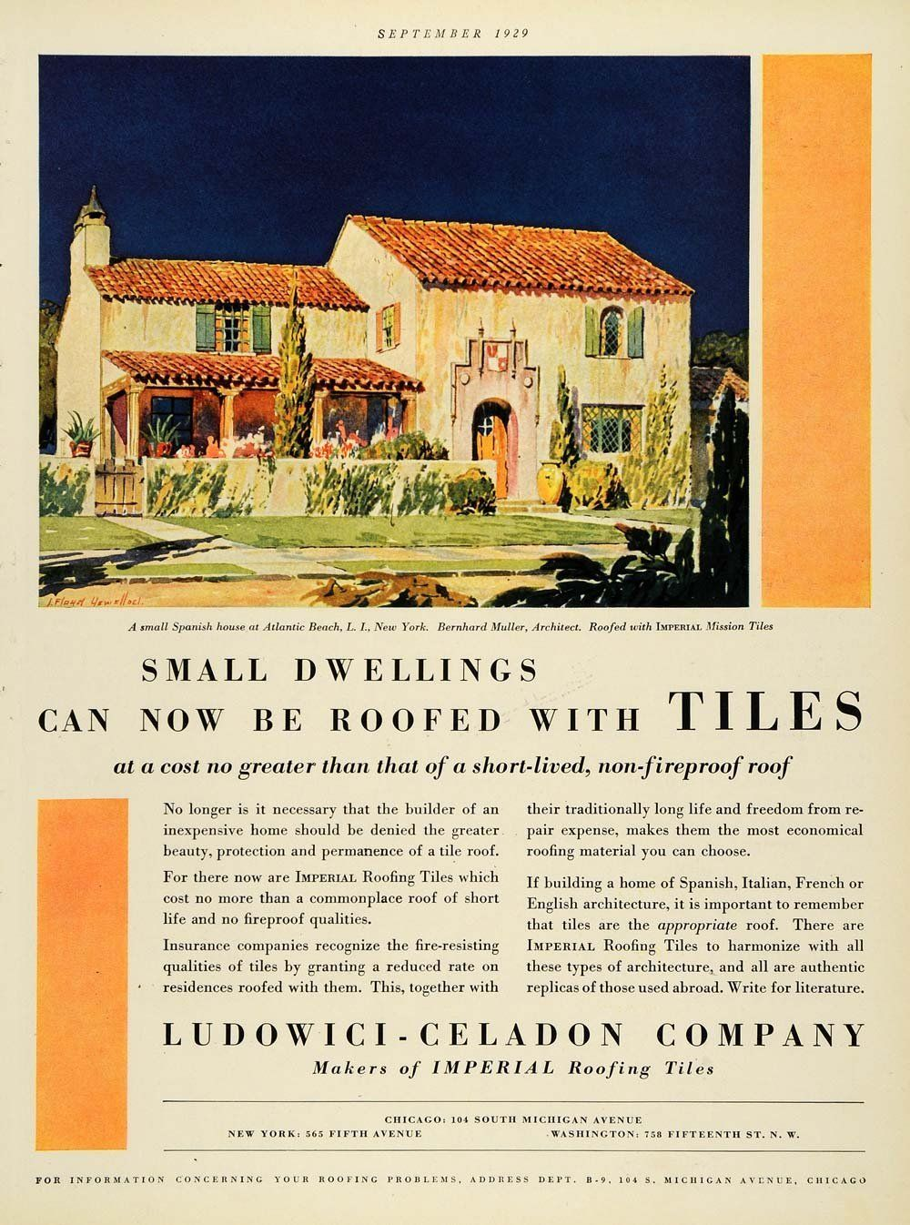 Small Dwelling Can Now Be Roofed With Tiles Vintage Print Ad For