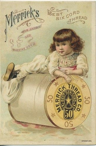 Would be great in the Sewing Room...when I get one. Scarce Merrick's Thread Victorian Trade Card