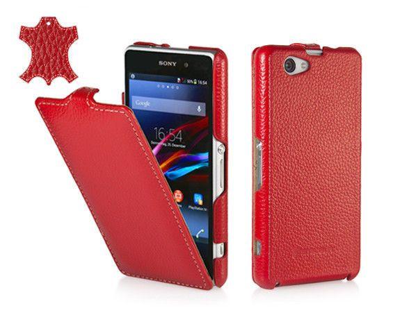 Skórzane etui z klapką Stilgut UltraSlim - czerwone - Sony Xperia Z1 Compact