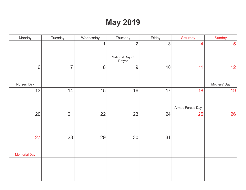 May 2020 Calendar With Holidays For Us Canada India Australia
