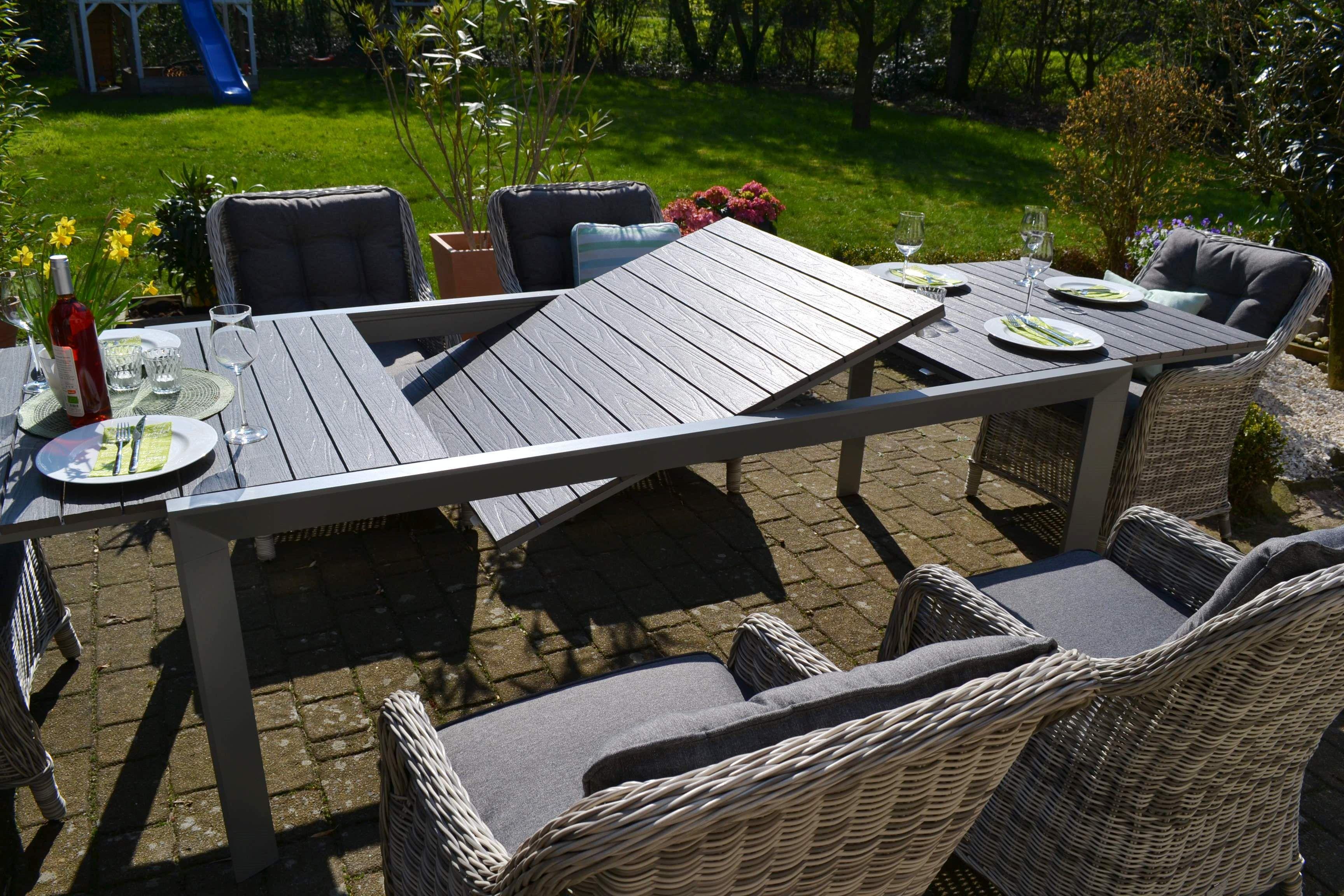 Essgruppe Neapel Xl Tisch Verlangerbar 203 305x100cm 8 Sessel Grau Polster Grau Sessel Grau Essgruppe Gartenmobel