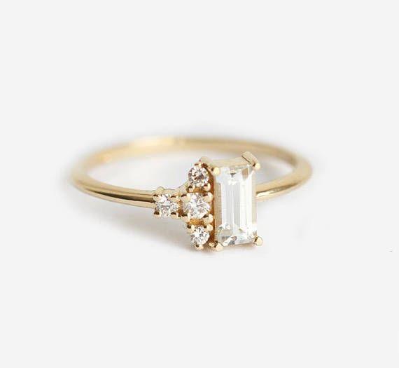 White Baguette Sapphire Ring Modern Diamond Cluster Ring White Sapphire Ring Unique Modern Engagement Ring White Gemstone Ring Gold Diamond Engagement Rings Modern Engagement Rings Engagement Rings Sapphire