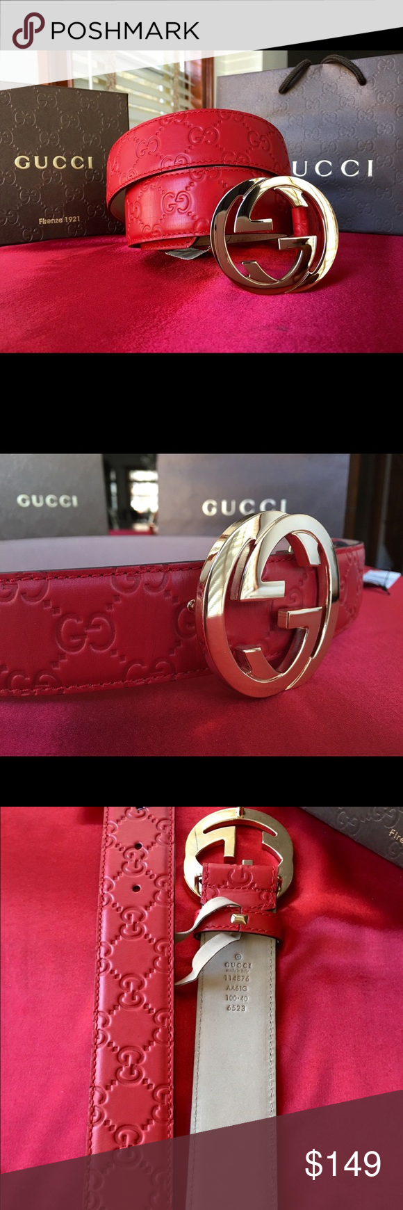 cbdf4781823 🌶 Authentic Men Gucci Belt Red Guccisima Gold GG 🌶!!!! HOT ITEM ...