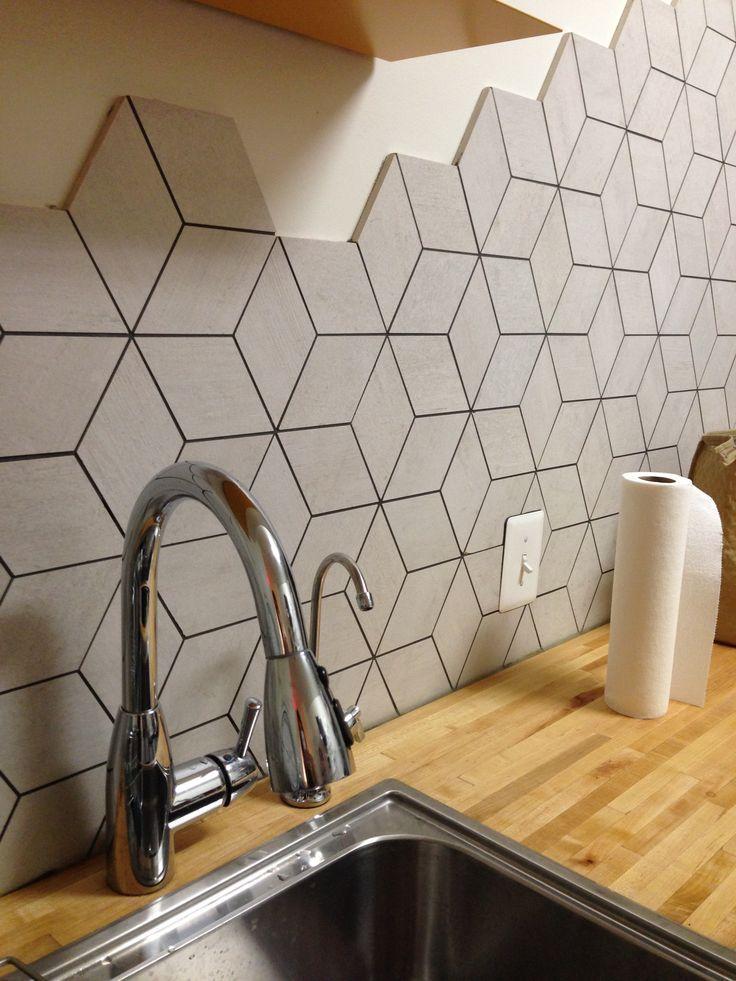 Backsplash Rhombus Shape Tile Backsplash For White Cabinets