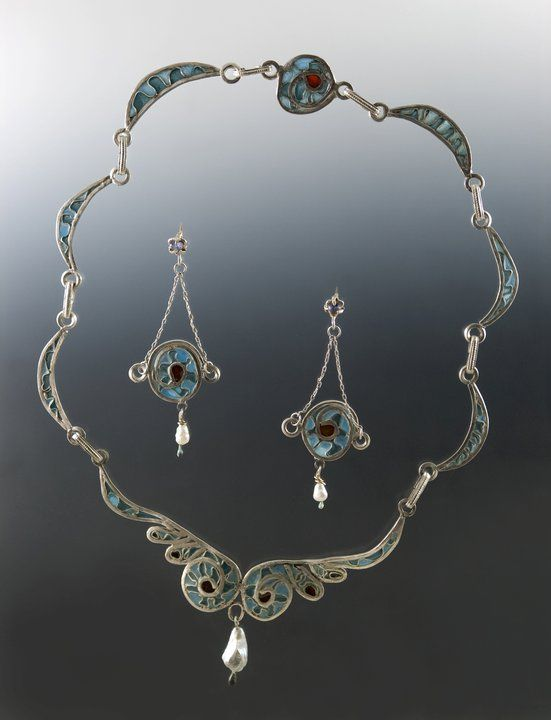 fruits of the sea Plique a Jour enamel and pearl.