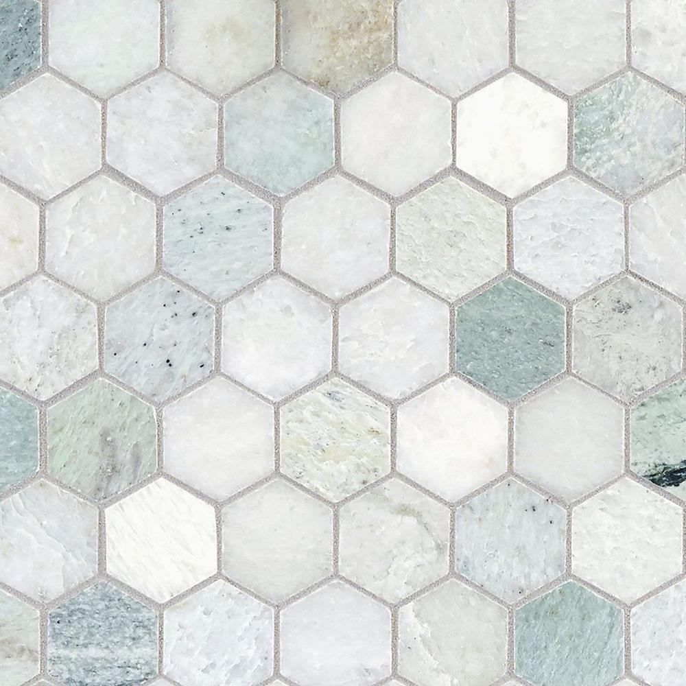Caribbean Green Hexagon Tumbled Marble Mosaic 12 X 12 100052604 In 2020 Ideen Bodenbelag Bodenfliesen Bad Badezimmer Einrichtung