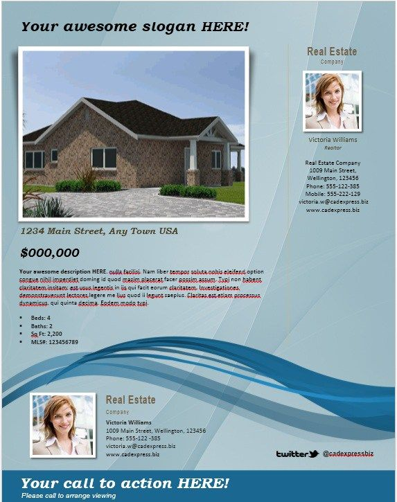 House For Sale Flyer Template  Stationary Templates