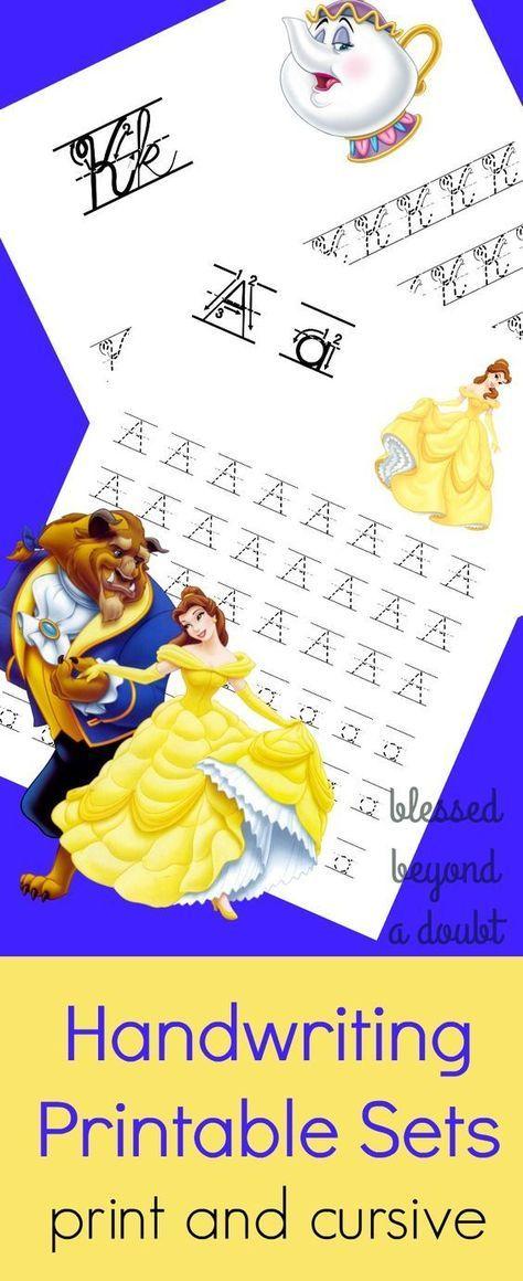 Free Beauty And The Beast Handwriting Printable Sets Handwriting