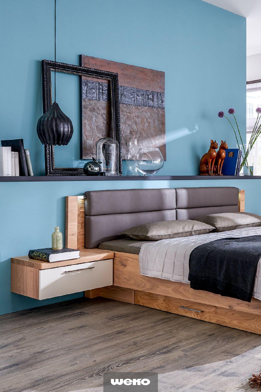 Modernes Schlafzimmer in Balkeneiche teilmassiv mit