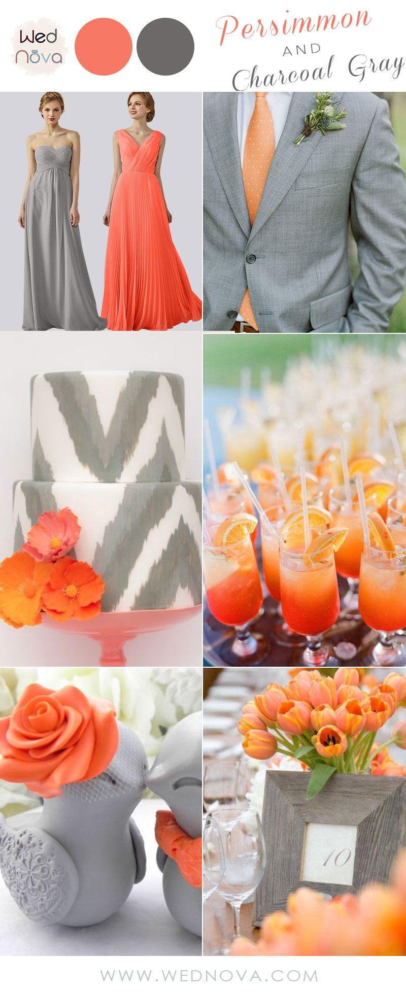 Orange dress casual  Beautiful chiffon bridesmaid dresses gray sweetheart dress orange