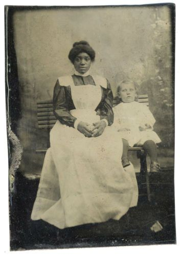 BLACK-NURSE-IN-UNIFORM-WHITE-CHILD-TINTYPE-PHOTO-AFRICAN-AMERICAN-NANNY