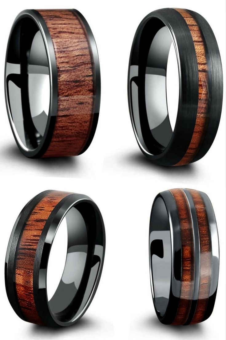 Mens black wood wedding rings Made with genuine koa wood The most