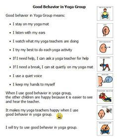 yoga group social story  basic yoga class rules for