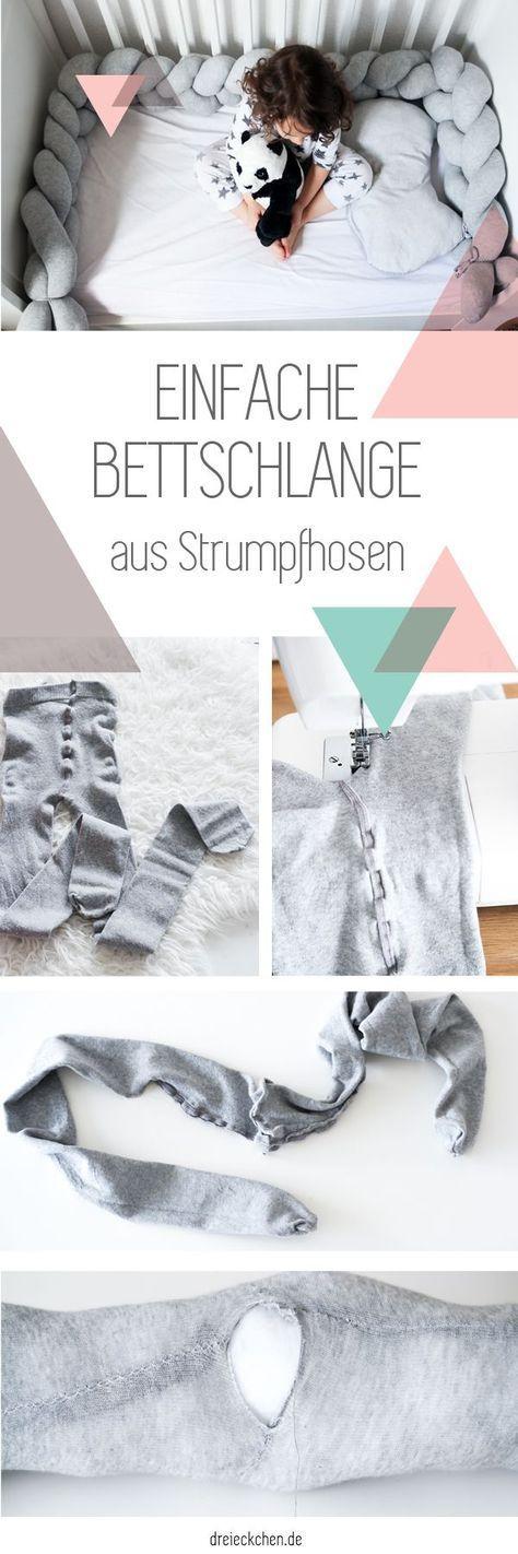 Geflochtene Bettschlange aus Strumpfhosen selber machen – DIY Idee für's Kinderzimmer #diykinderzimmer