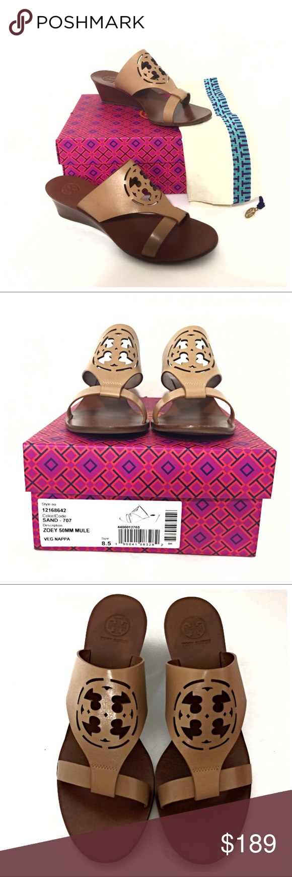 60613cec4c4af Tory Burch Zoey Slip On Wedge in Sand Authentic Tory Burch Zoey Slip On Wedge  Sandal in Sand (Tan). Includes original box and dust bag.