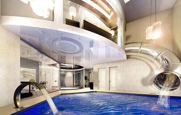 Mansion with indoor pool waterslide  A Subterranean Mansion with indoor water slide! | Pools | Pinterest ...