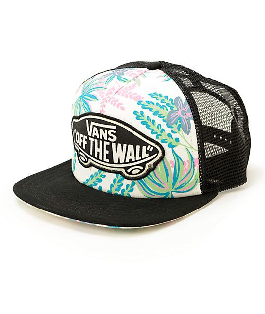 This trucker hat is made with floral print detailing finished with a Vans  Off The Wall logo patch embroidered at the front for an ultra fresh and  trendy ... ecaebf126d7c