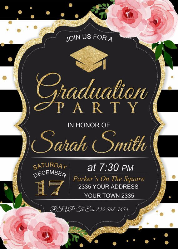 graduation party invitation  black  u0026 white stripe  floral graduation party invite  pink flowers