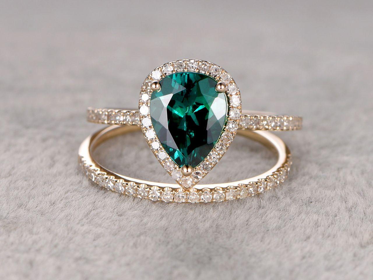ce46ee0b9e1 6x8mm Pear Cut Emerald Wedding Set Diamond Bridal Ring 14k Yellow Gold Pave  Thin Matching Band - BBBGEM