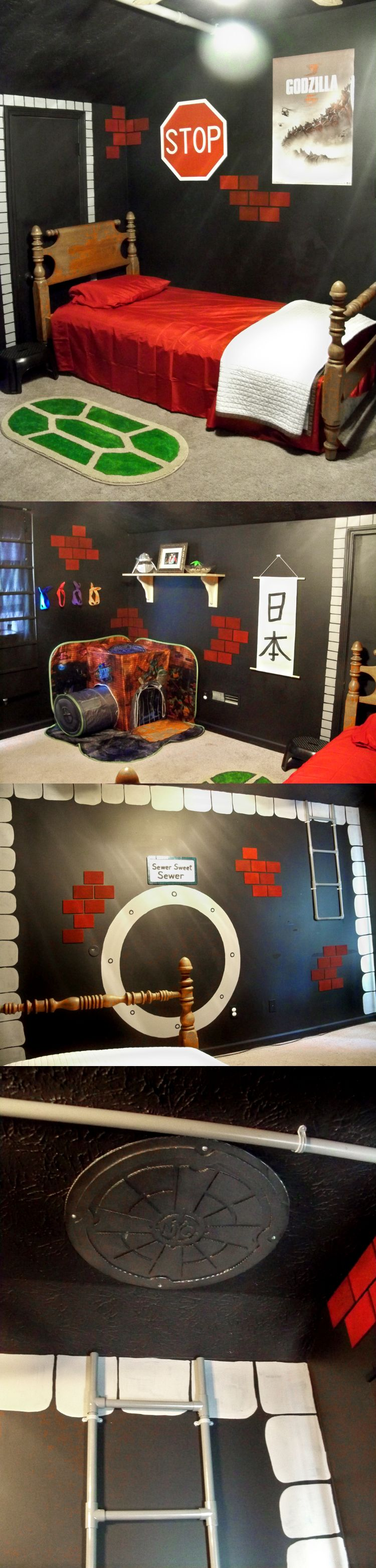TMNT sewer lair bedroom for my nephew. Converted from a previously all black room. Still missing a few details, but mostly done.
