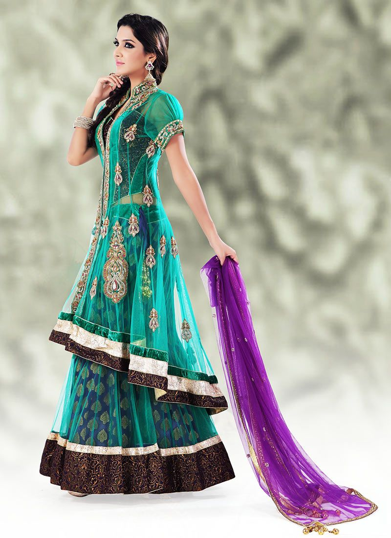 long blouse ghagra - Google Search | Lehengas | Pinterest