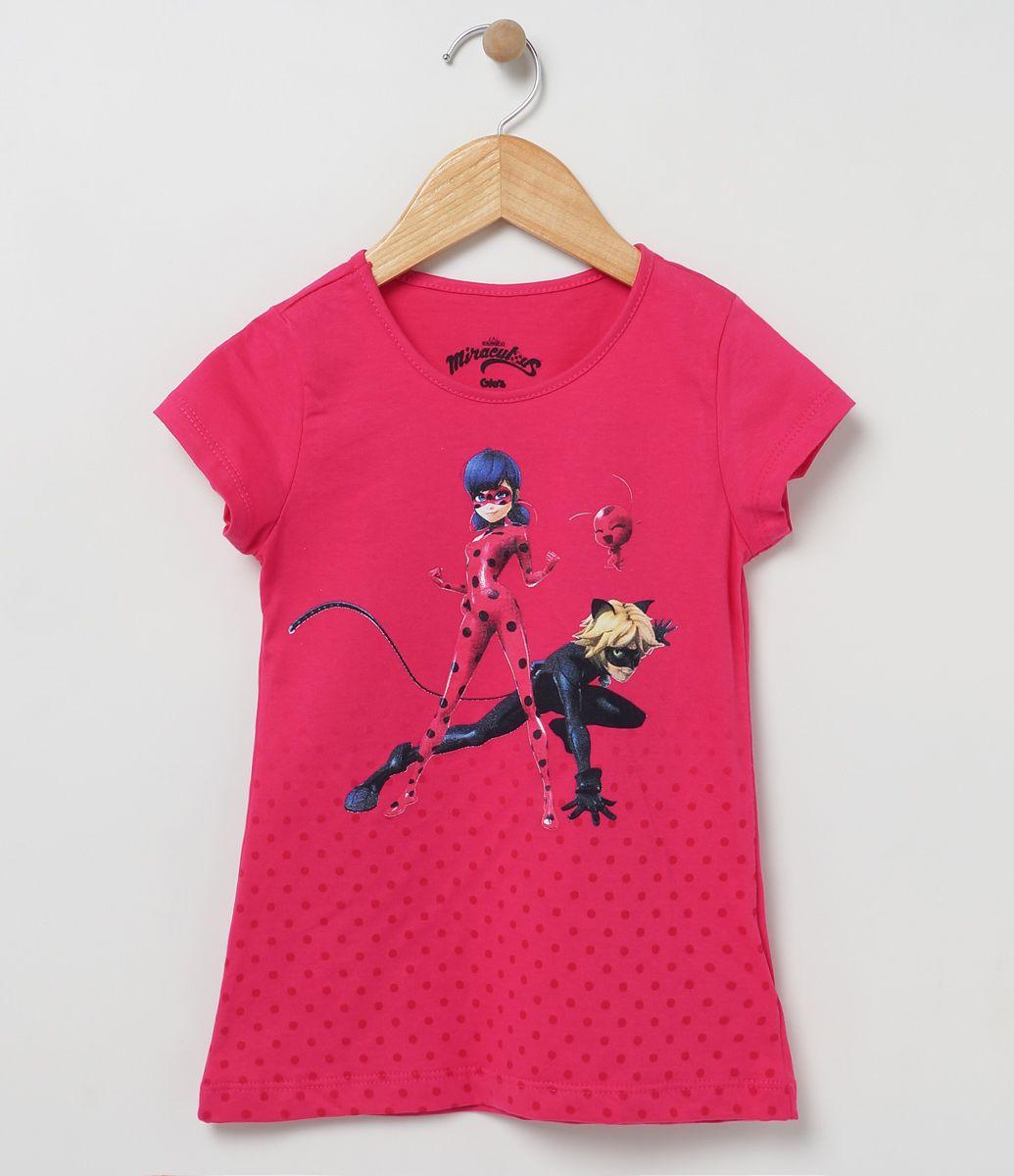 Blusa infantil    Manga curta    Gola redonda    Com estampa    Marca: Ladybug    Tecido: meia malha             COLEÇÃO VERÃO 2017             Veja mais opções de      blusas infantis.