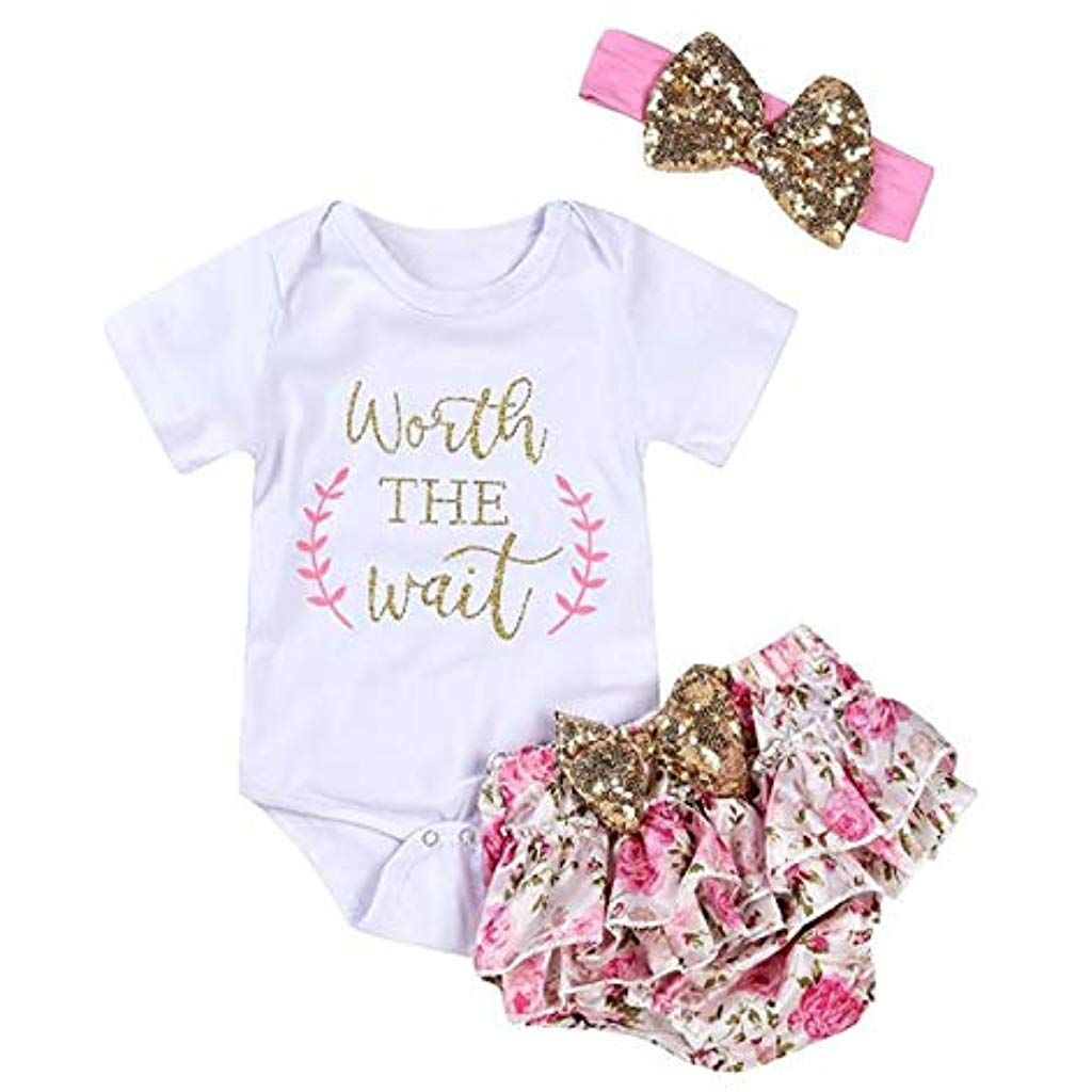e967e35353d64 Toddler Baby Girl Casual O Neck Sequin Button Bowknot Romper Pants Outfit  Set Active Sets