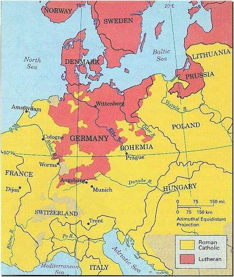 Map Of Europe 1560.Map Showing Lutheran And Catholic Regions Of Europe 1560 History