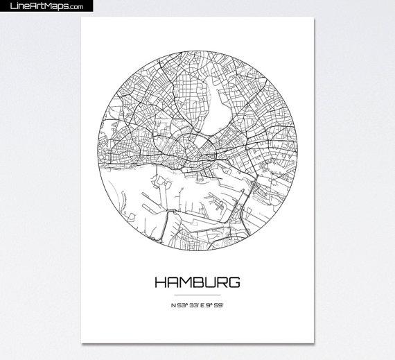 Hamburg Karte Drucken Stadt Karte Kunst Des Von Lineartmaps