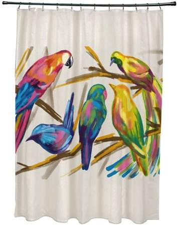 E By Design Simply Daisy 71 X 74 Happy Birds Print Shower Curtain