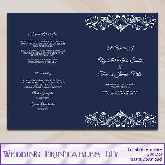 wedding program template diy printable navy blue ceremony half fold programs editable text instant download pdf word p31