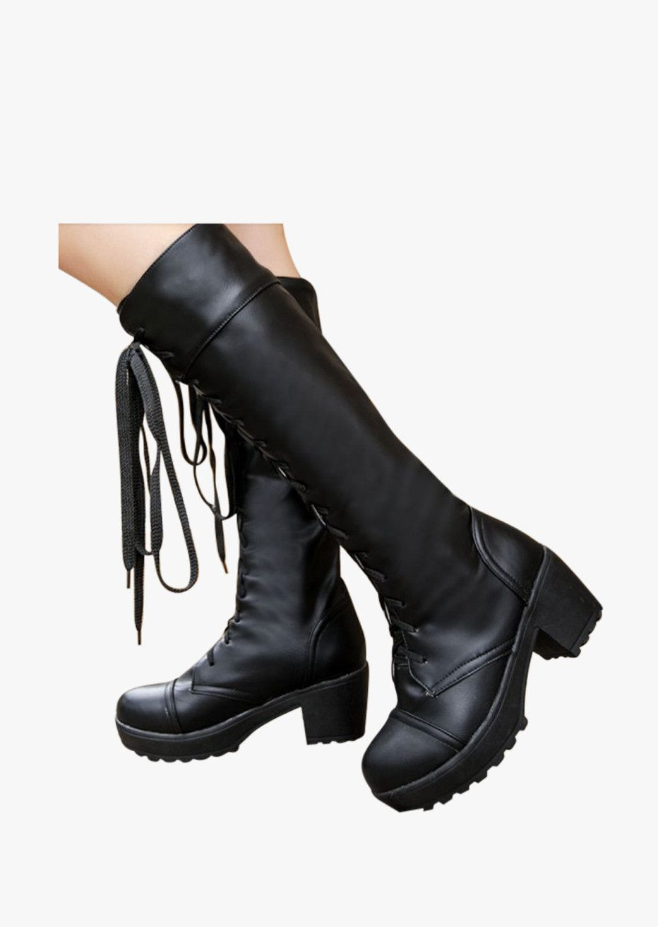 Natural Leather Lace Up Boots In Black