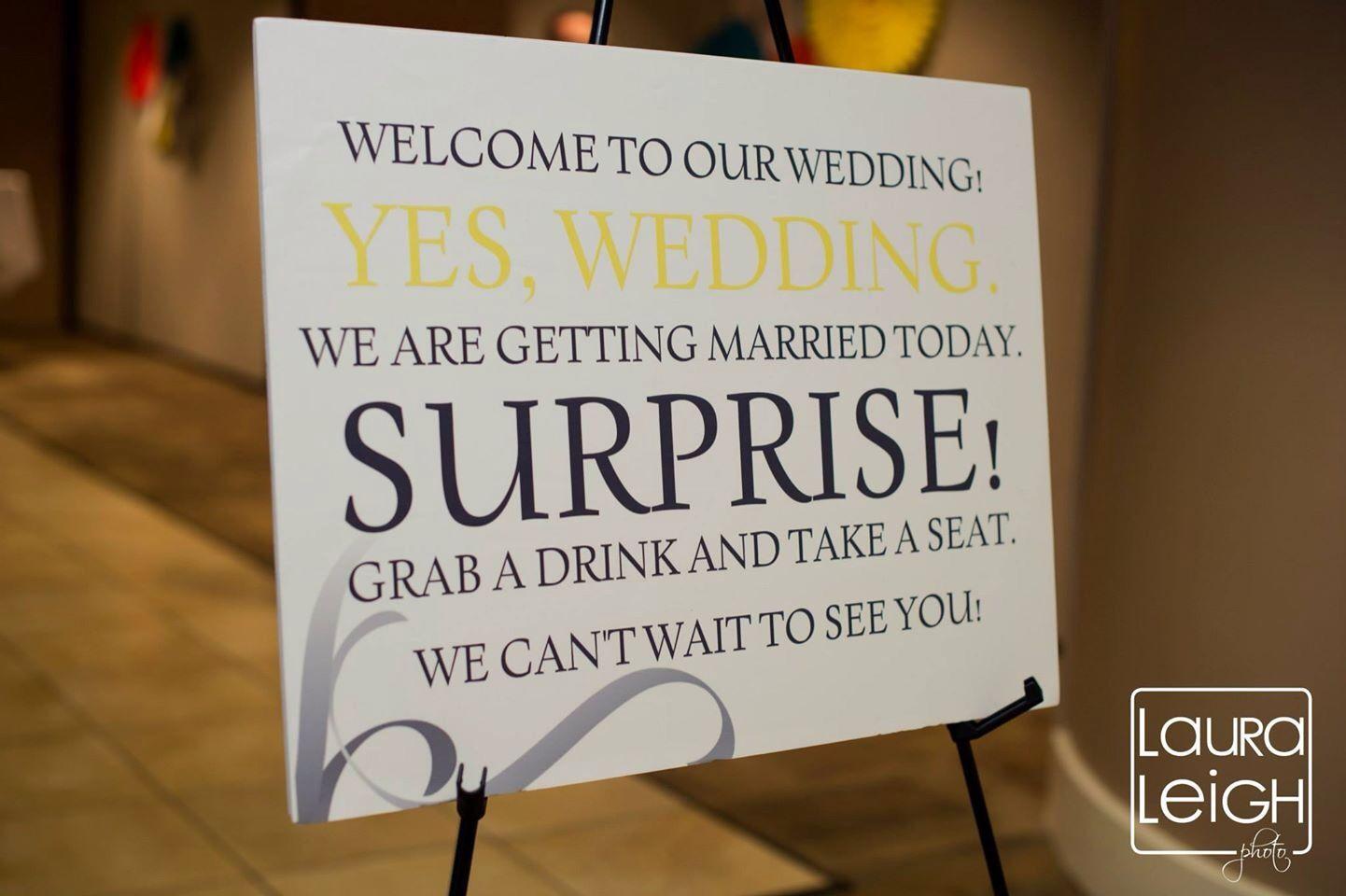 Surprise Wedding Invitation Wording: Surprise Wedding. Sign