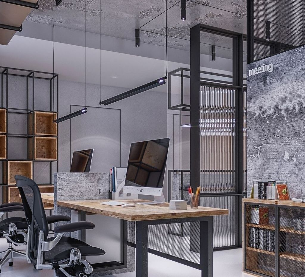 Pin By Fraoulitta On Oficina Enqopue Office Interior Design Modern Office Space Industrial Office Design