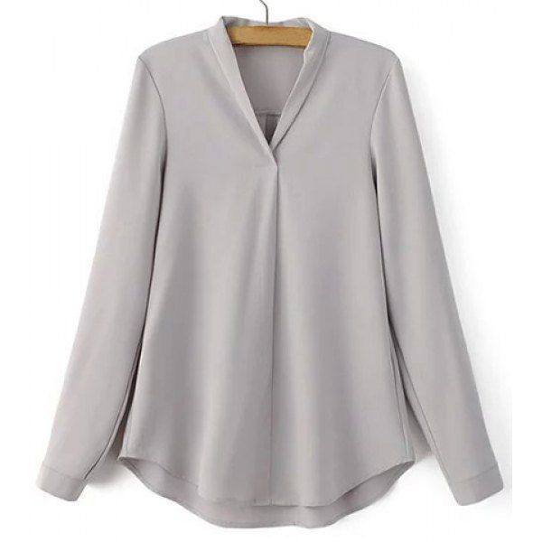 Casual V-Neck Long Sleeve Pure Color Shirt For Women — 15.09 € --Size: L Color: GRAY