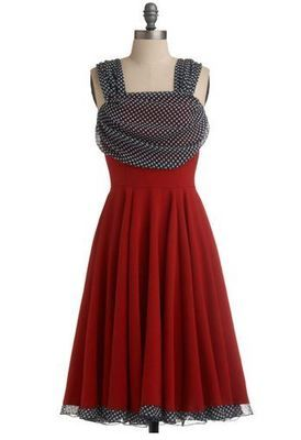 Draped Darling Dress Modcloth Rock Steadly New NWT Red Black w/White Polka Dots