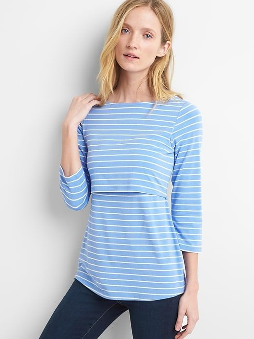 Gap Womens Maternity Stripe Layer Nursing Tee Hanover Blue 08e2d1831