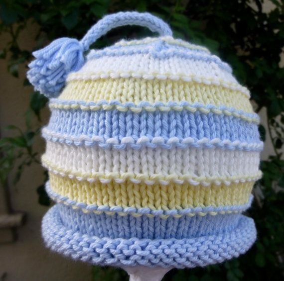Photo of Items similar to So Special Hand Knit Baby Boy Hat Blue And Yellow Stripes on Etsy