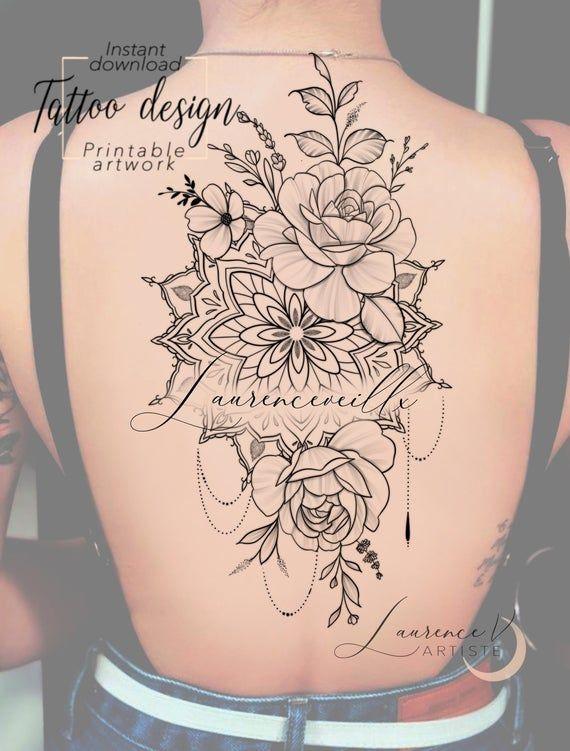 Printable Tattoo Design Instant Download Tattoo Design Etsy In 2020 Tattoo Designs Printable Tattoos Flower Mandala