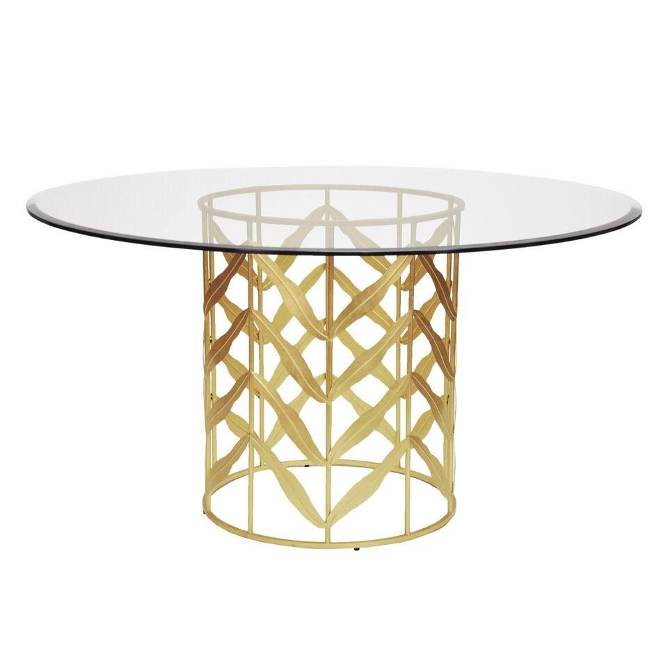 The Worlds Away Anderson Dining Table Showcases A Gold Leaf Round