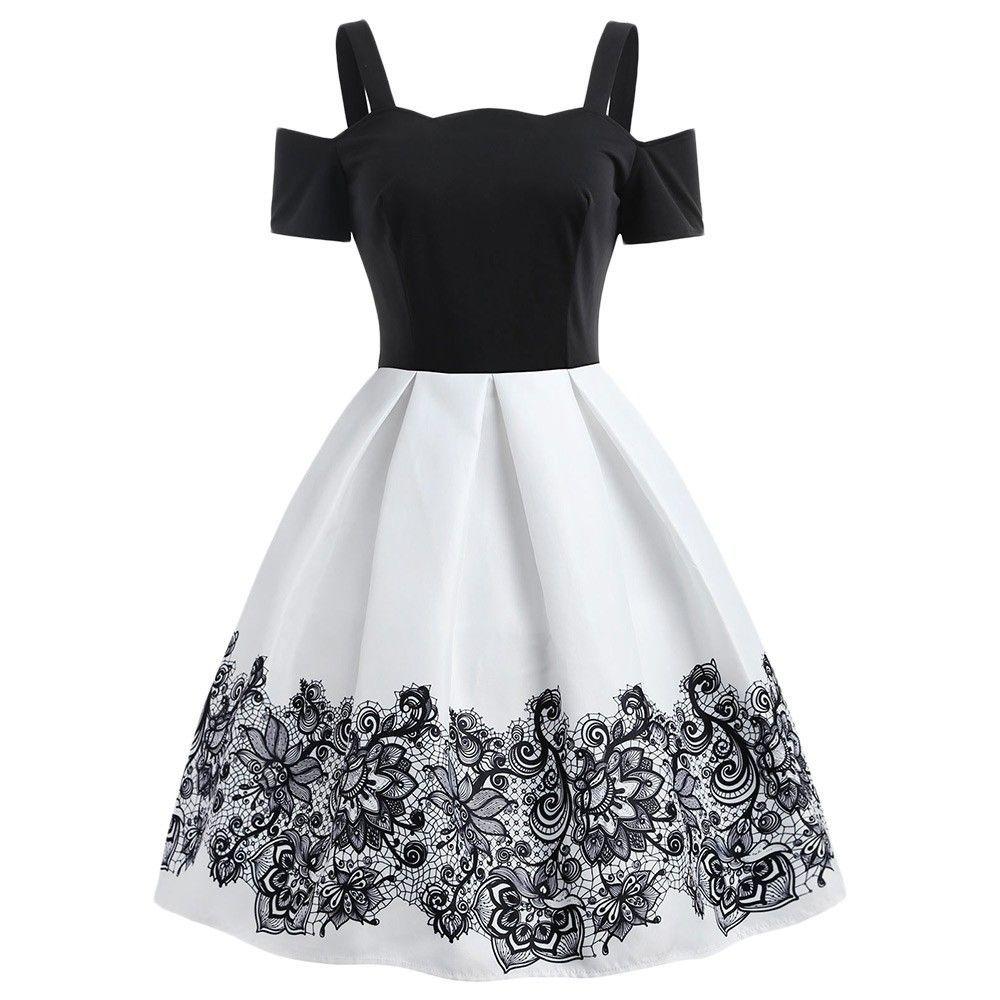 Contrast Cold Shoulder A Line Vintage Dress - White - 3Q71634222 Size S