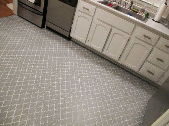 Images Of Painted Plywood Floors | Painted Stencil Plywood Kitchen Floor