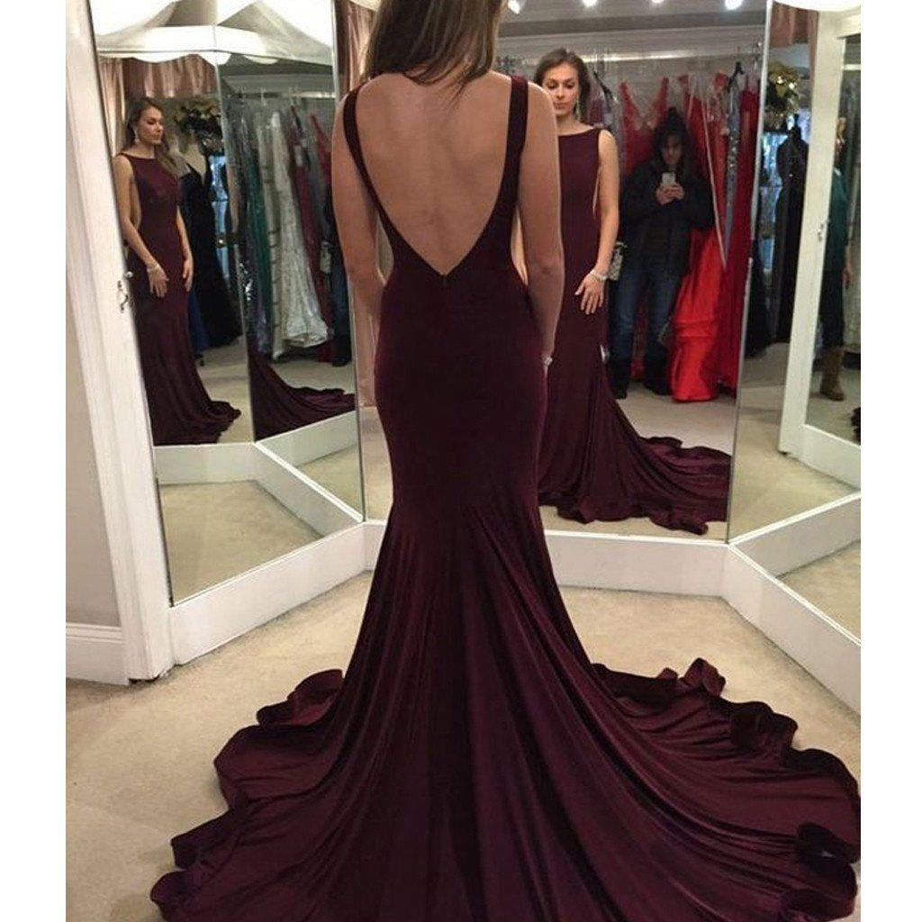 Long burgundy vback mermaid simple formal evening prom gown dress