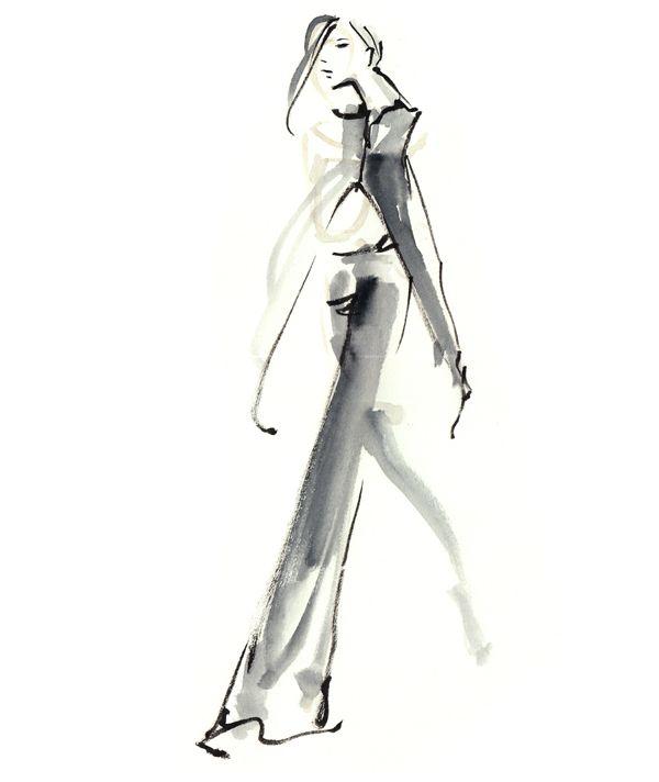 Fashion Sketch of a model on the runway; fashion illustration // Danielle Meder