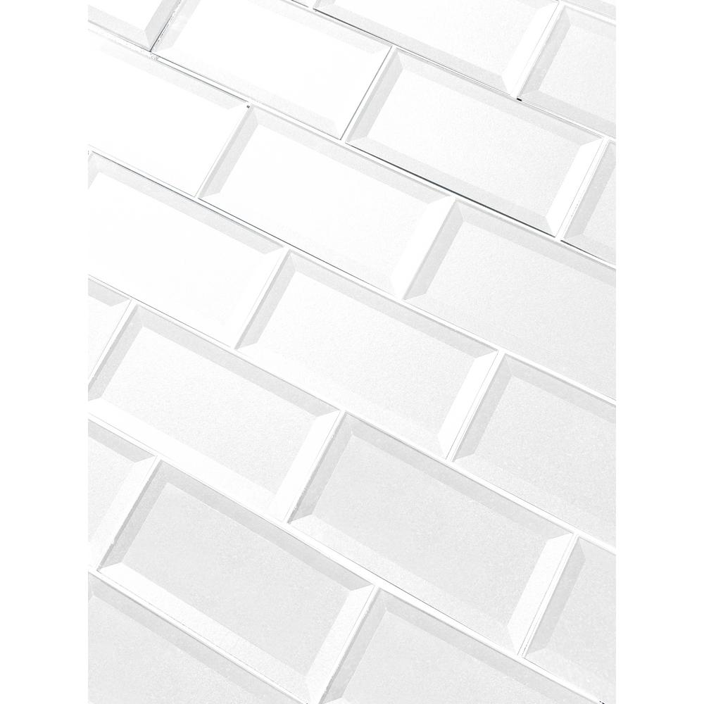Abolos Forever Eternal White Inner Beveled Subway 3 In X 6 In Beveled Glass Wall Tile 1 Sq Ft Hmdfob0306 Ew The Home Depot In 2021 Wall Tiles Beveled Glass Mosaic Wall Tiles