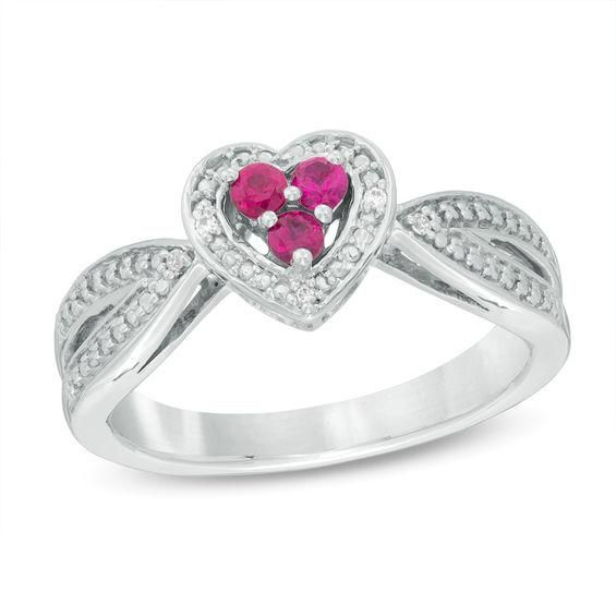 Zales Lab-Created Ruby and Diamond Accent Three Stone Heart Split Shank Ring in Sterling Silver yB3kDg3