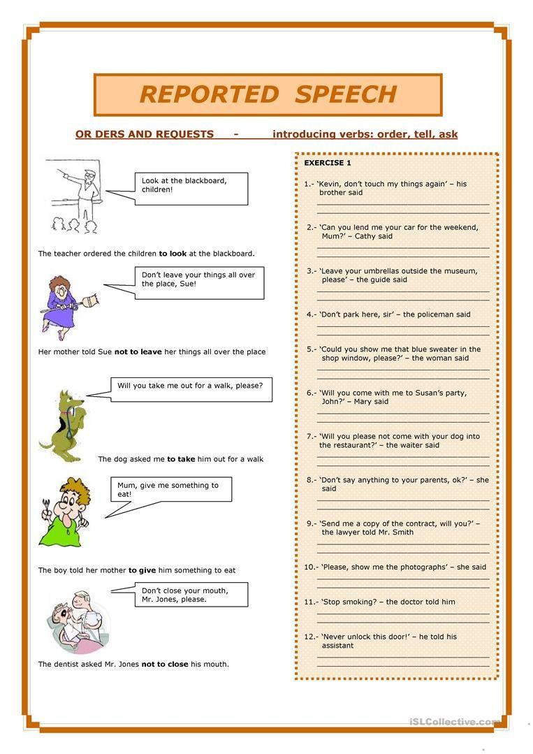 Reported Speech Worksheet Free Esl Printable Worksheets Made By Teachers Reported Speech Indirect Speech Direct And Indirect Speech [ 1079 x 763 Pixel ]